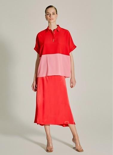 NGSTYLE Essentials - Renk Bloklu Bluz Kırmızı